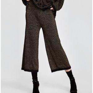 Zara High-waist gold fleck trousers NWT